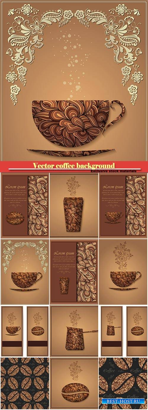 Vector coffee background with floral pattern elements