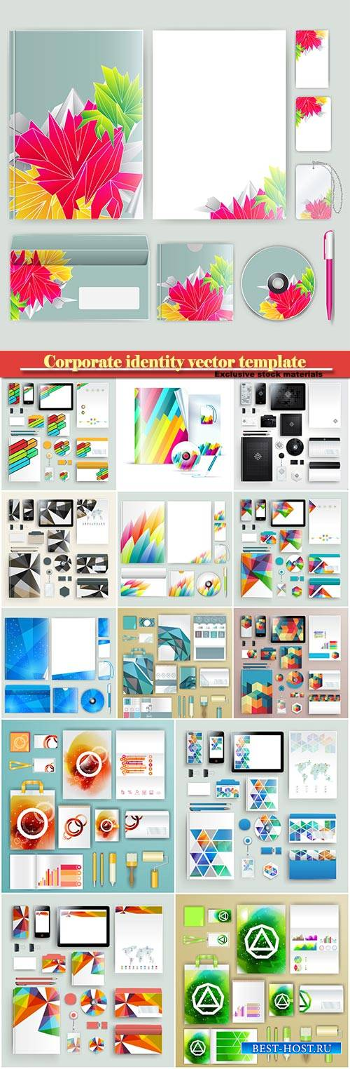 Corporate identity vector template with color elements