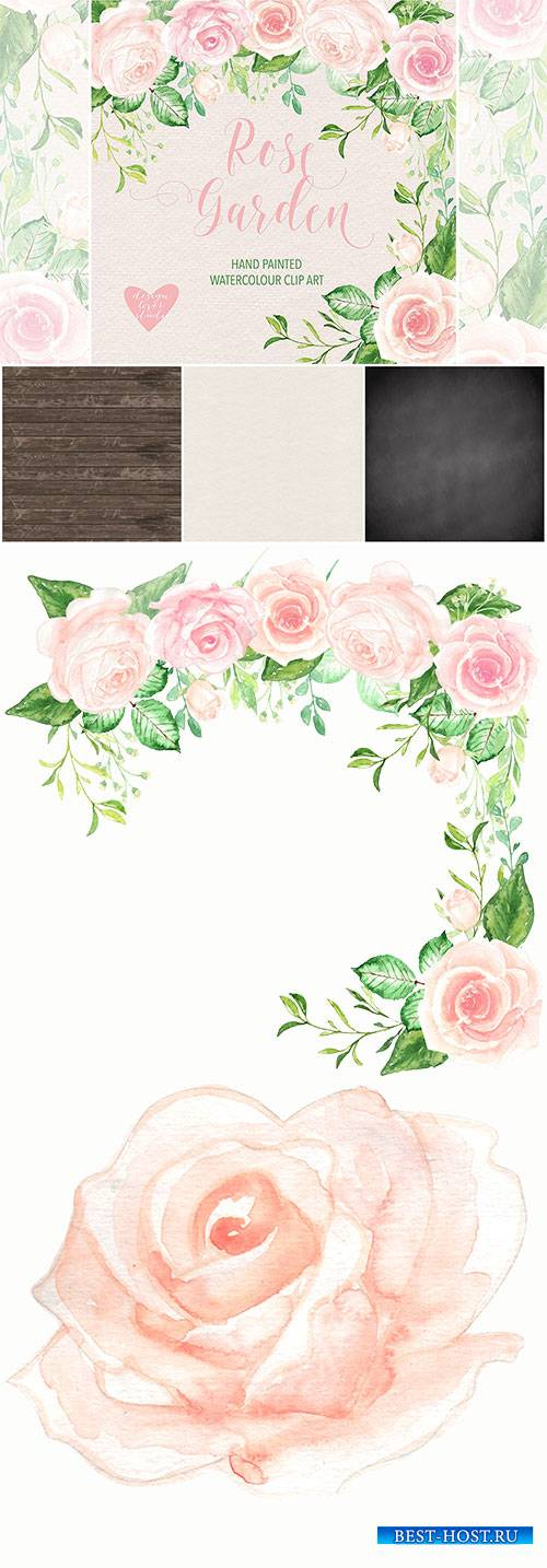 Watercolor Rose Garden clipart
