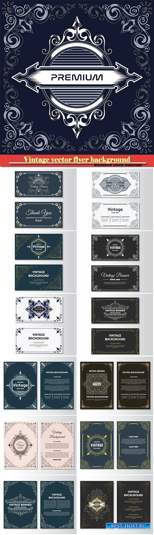 Vintage vector flyer background design template