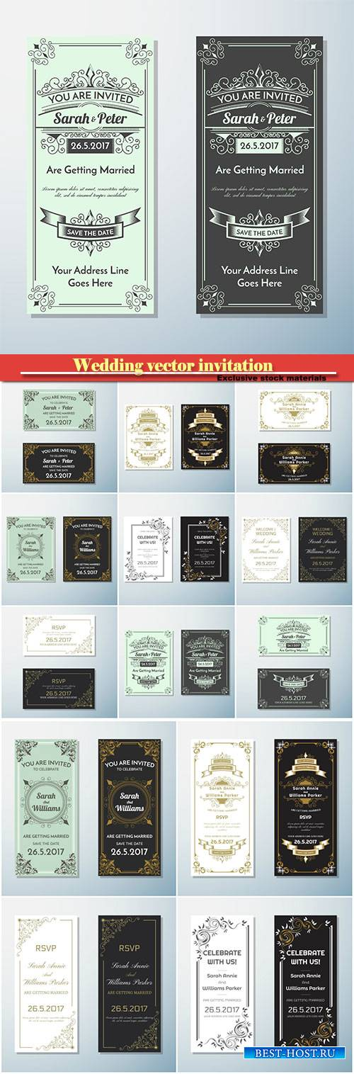 Wedding vector invitation vintage flyer background design template