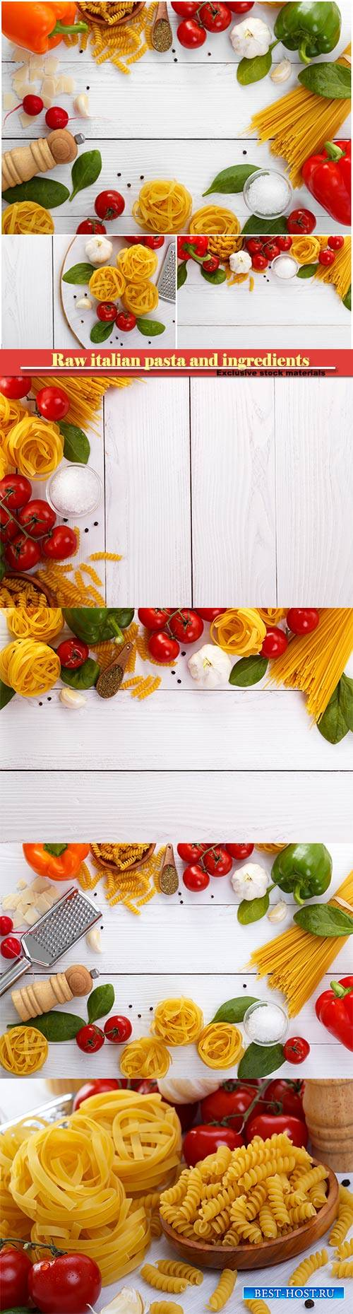 Raw italian pasta and ingredients composition on white wooden board