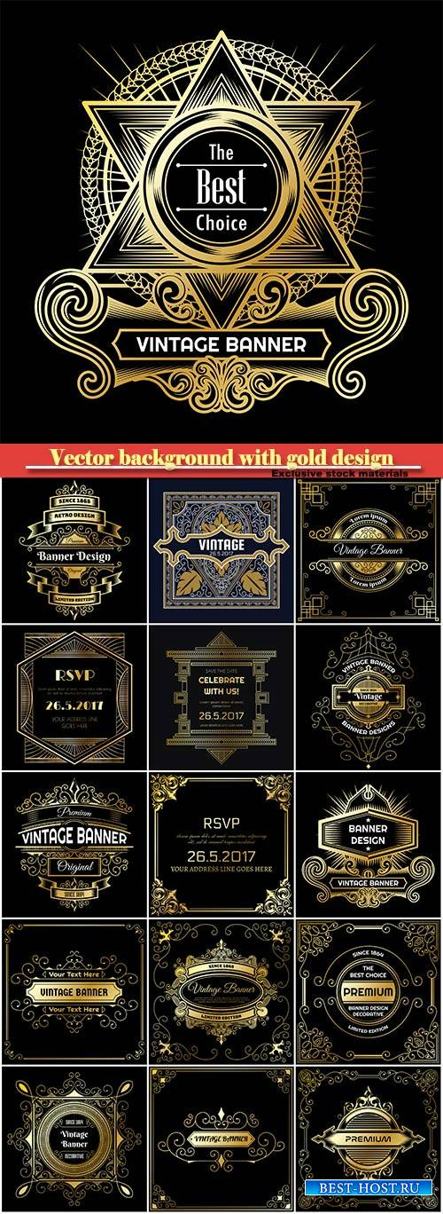 Vintage vector background with gold design