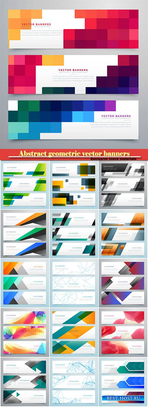 Abstract geometric vector banners set