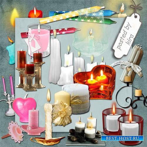 Клипарт - Множество разнообразных свечей