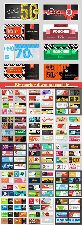 Big voucher discount template vector set