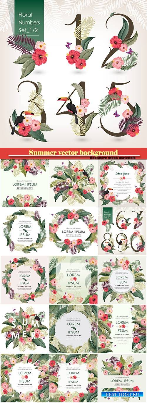 Summer vector background, floral numbers