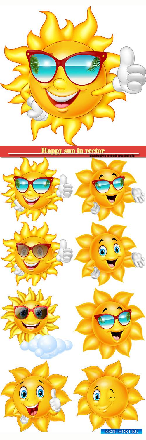 Happy sun in vector