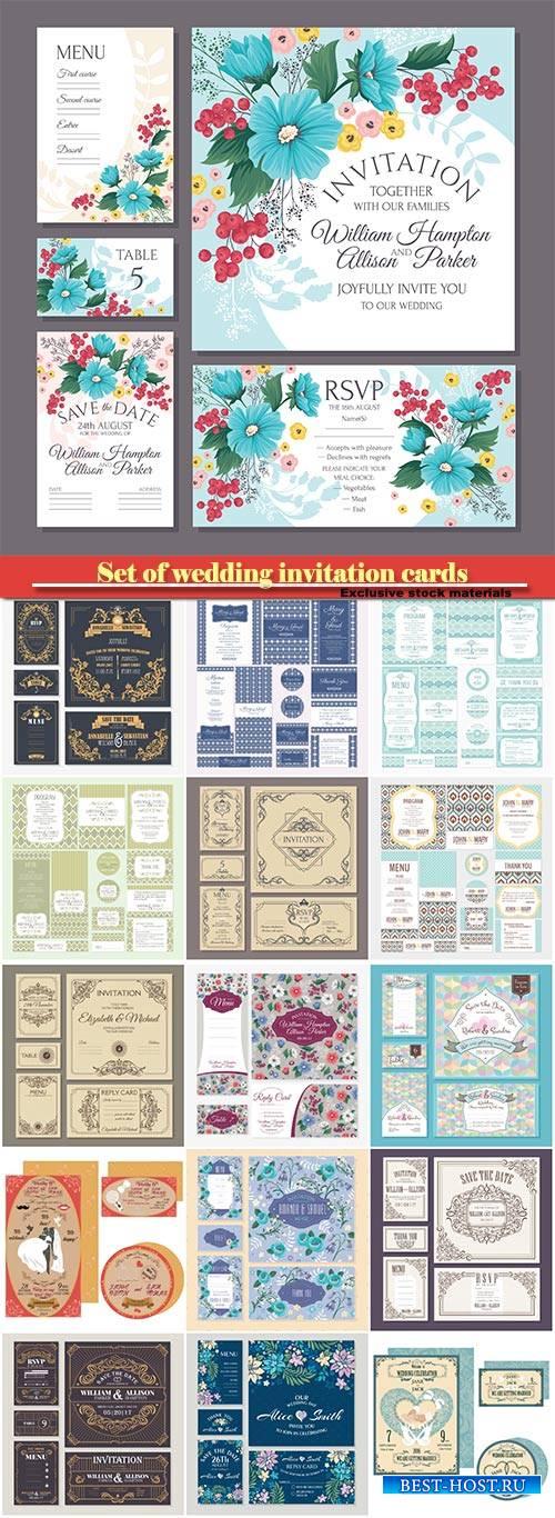 Vector vintage floral wedding cards collection