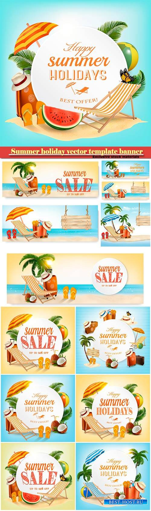 Summer holiday vector template banner