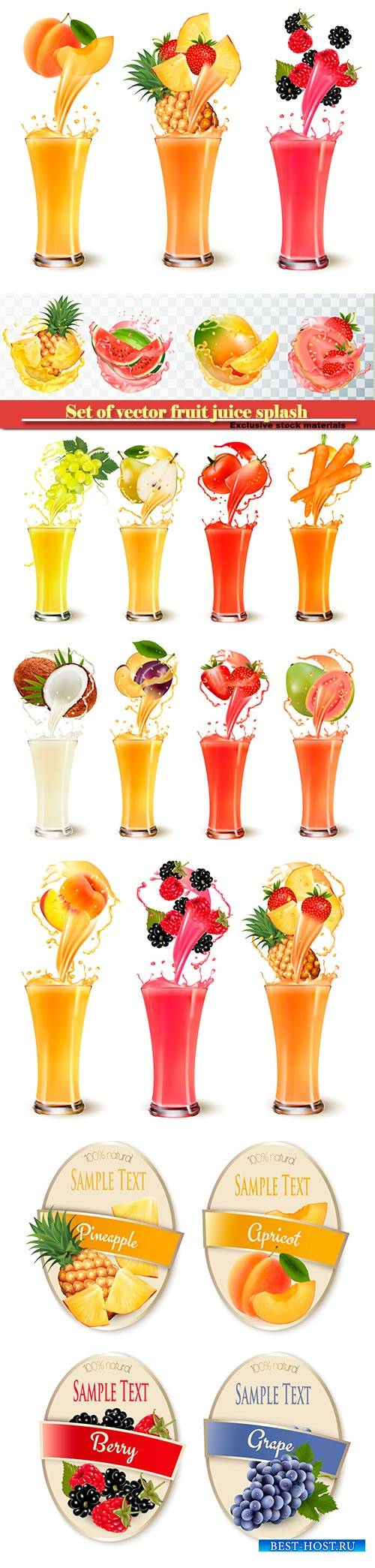 Set of vector fruit juice splash in a glass, pineapple, strawberry, raspber ...