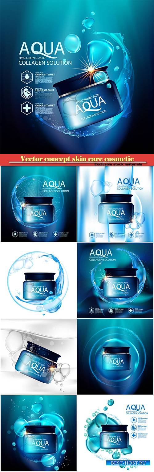 Aqua skin collagen serum and background concept skin care cosmetic