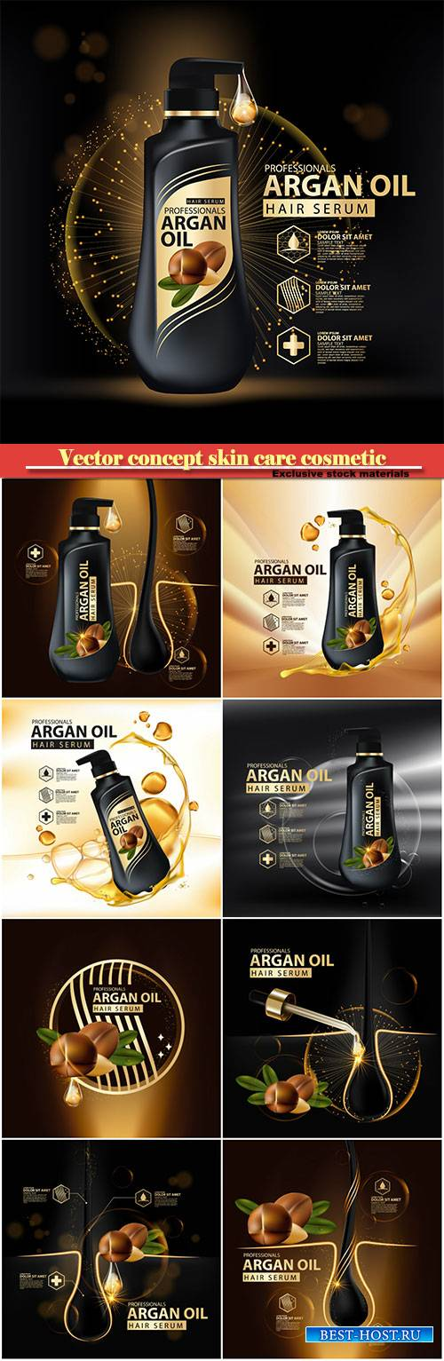 Argan oil hair care protection contained in bottle, golden and black background 3d illustration