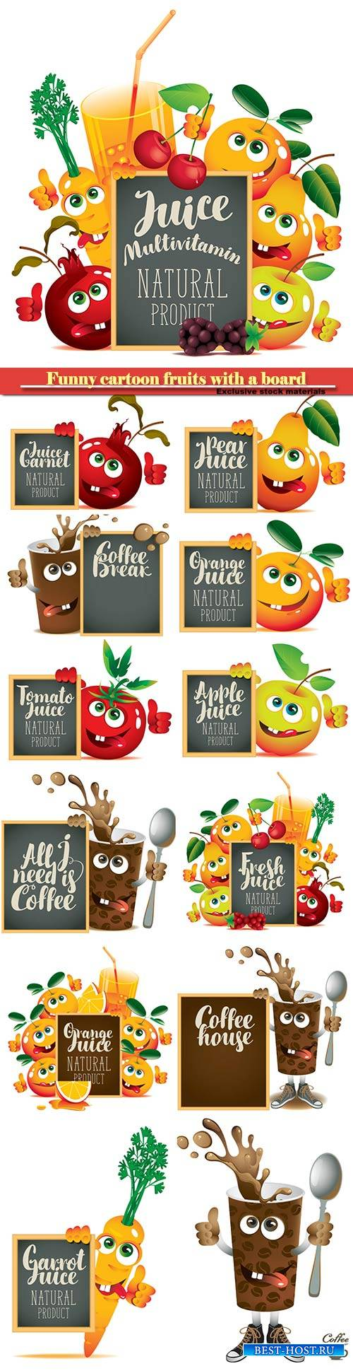 Funny cartoon fruits with a board, coffee and juices