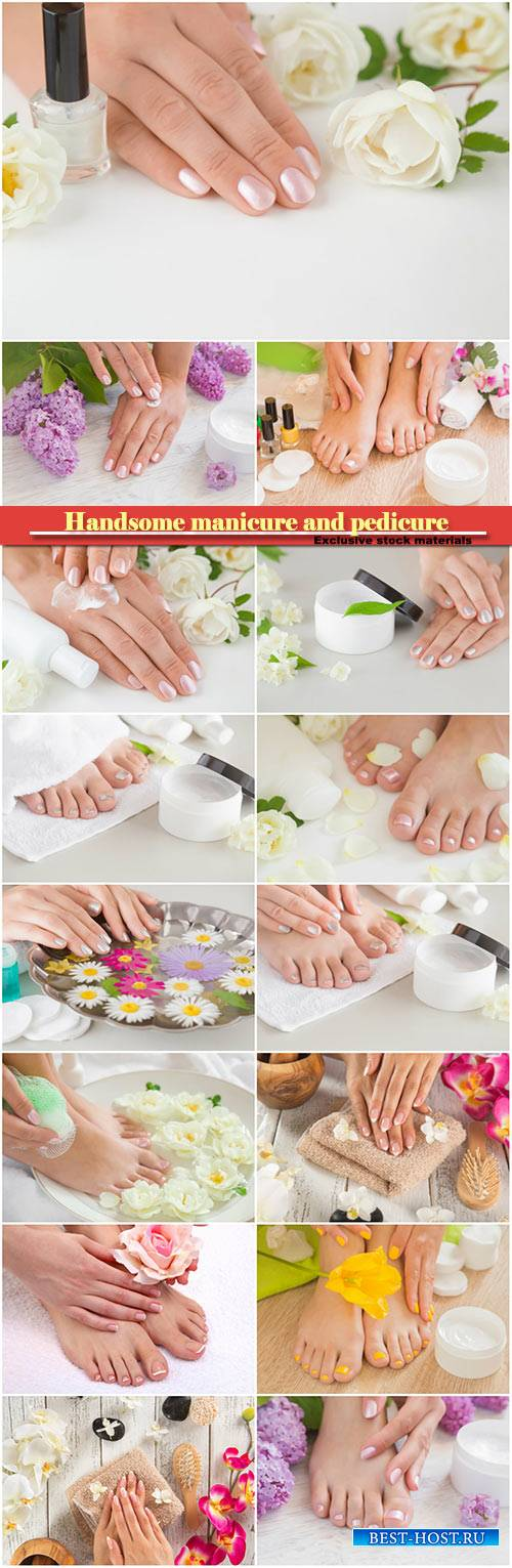 Handsome manicure and pedicure, hands and feet on a background with flowers