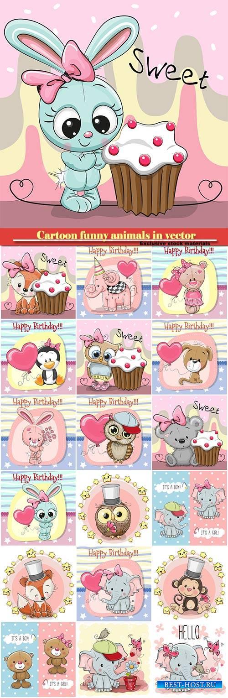 Cartoon funny animals in vector, owl, baby elephant, bunny