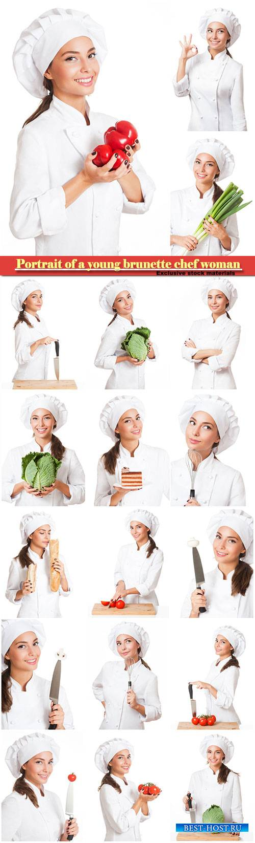 Portrait of a young brunette chef woman isolated on white background