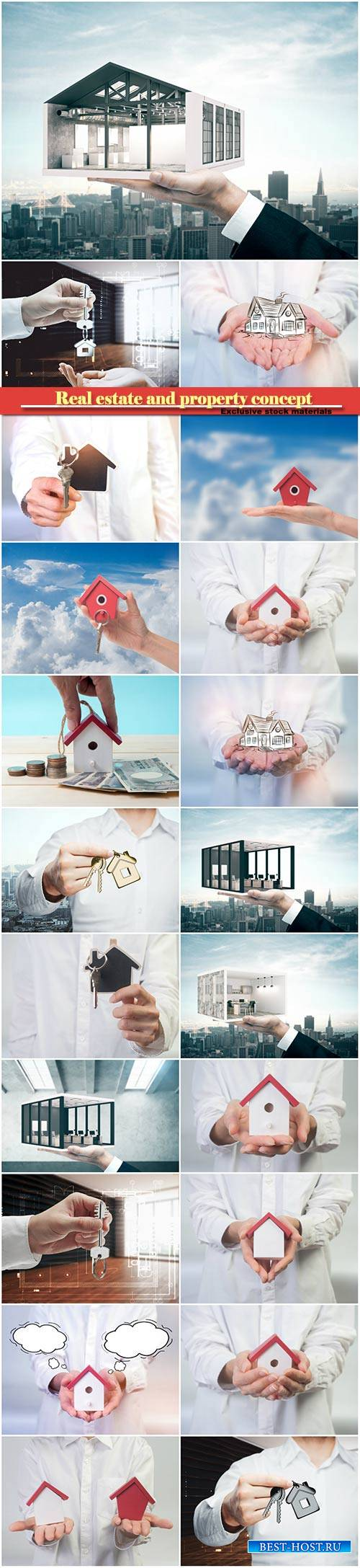 Real estate and property concept, close up of hands holding house or home m ...