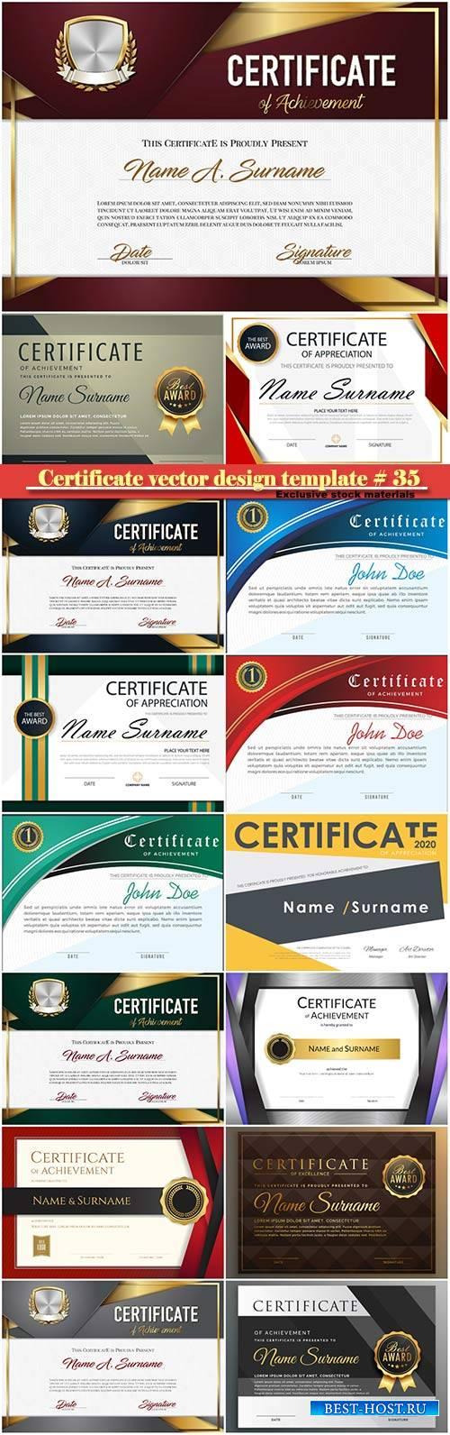 Certificate and vector diploma design template # 35