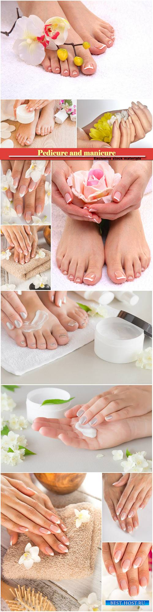 Photo of a beautiful female feet with pedicure and manicure