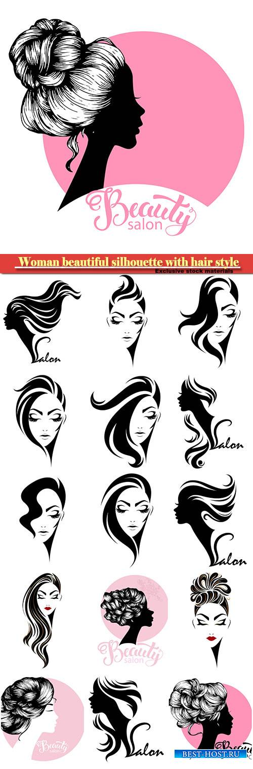 Woman beautiful silhouette with hair style, illustration for beauty salon signboard