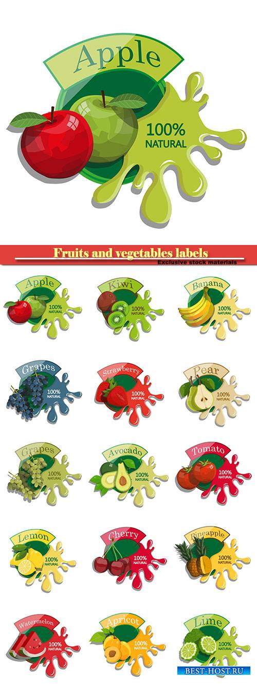 Fruits and vegetables labels in vector fresh natural juices