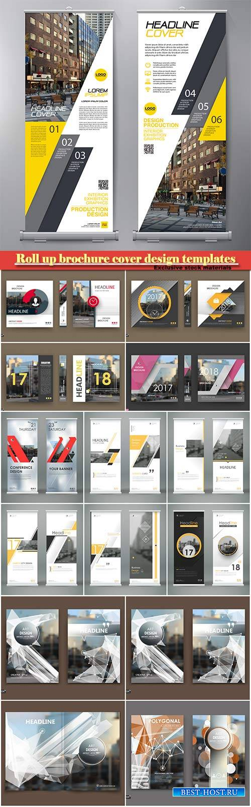 Roll up brochure cover design templates