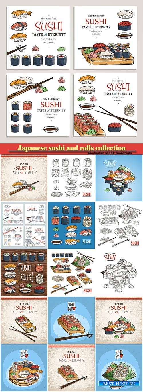 Japanese sushi and rolls collection, traditional fresh seafood, asia cuisin ...