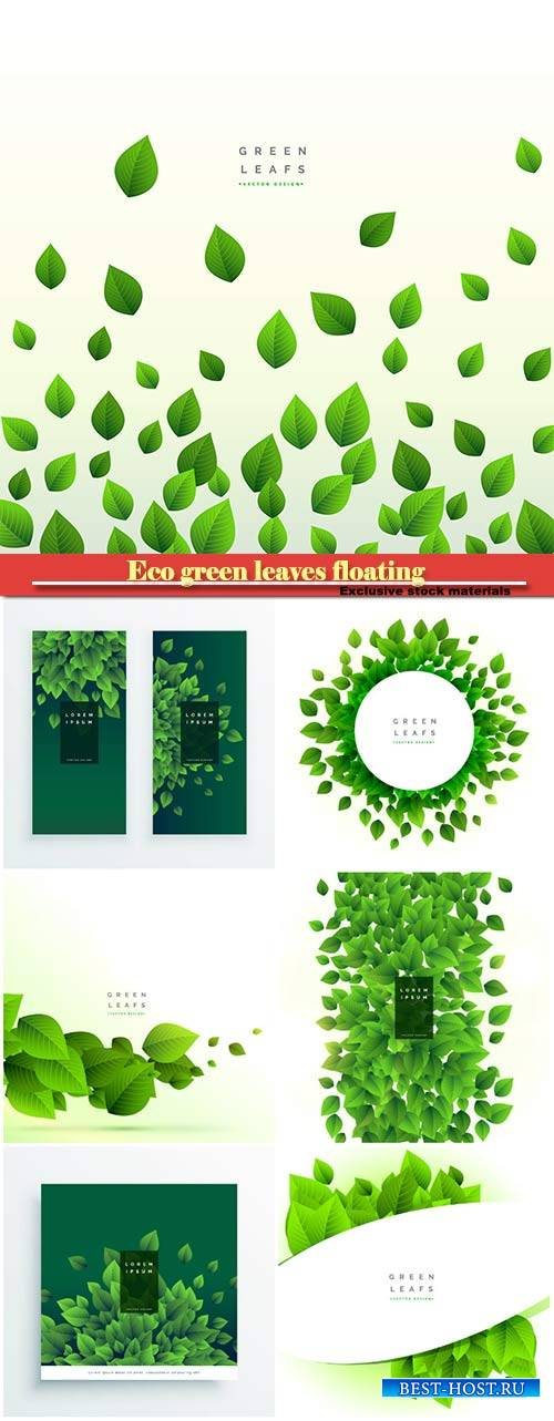 Eco green leaves floating on white vector background