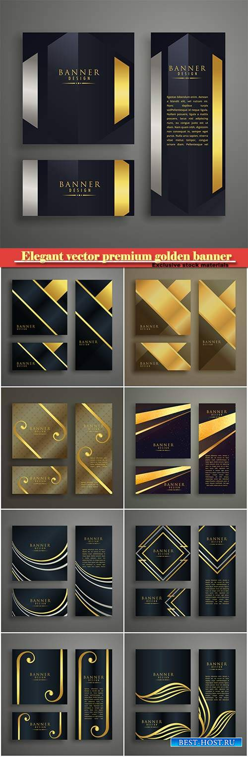 Elegant vector premium golden banner cards invitation set