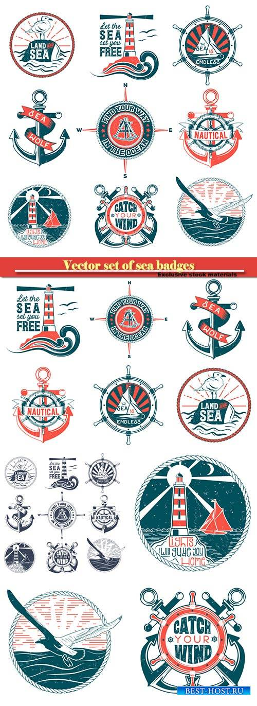 Vector set of badges with a general theme of the sea with the image of a wash, gulls, steering wheel, anchors