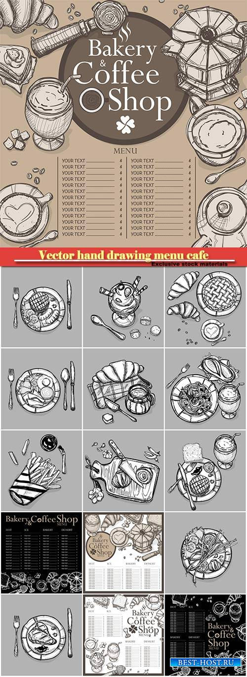 Vector hand drawing menu cafe coffee, bakery restaurant, food vegetable ill ...
