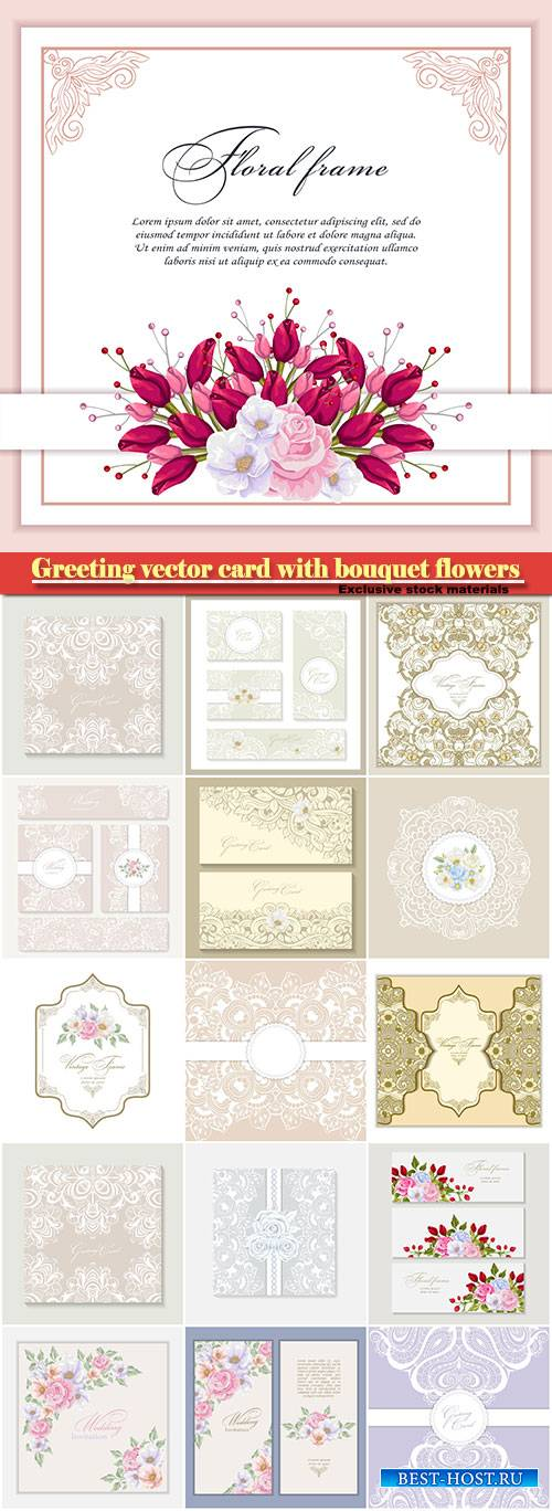 Greeting vector card with bouquet flowers for wedding, birthday and other h ...