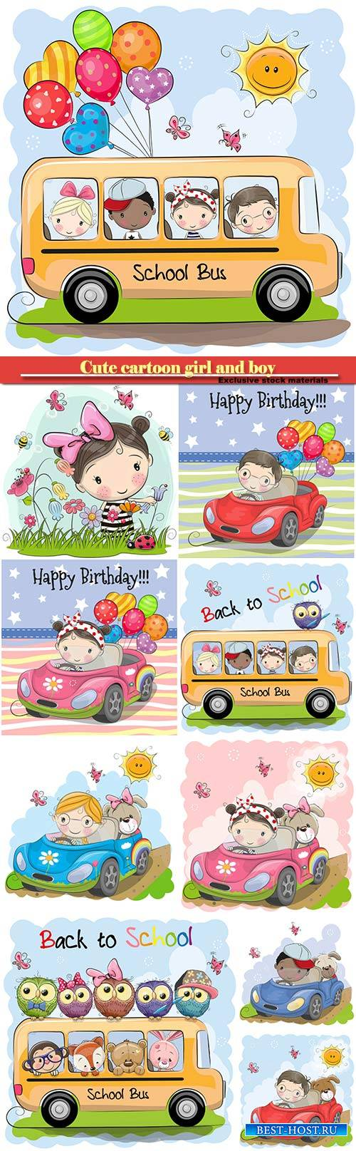 Cute cartoon girl and boy with balloon goes on a car