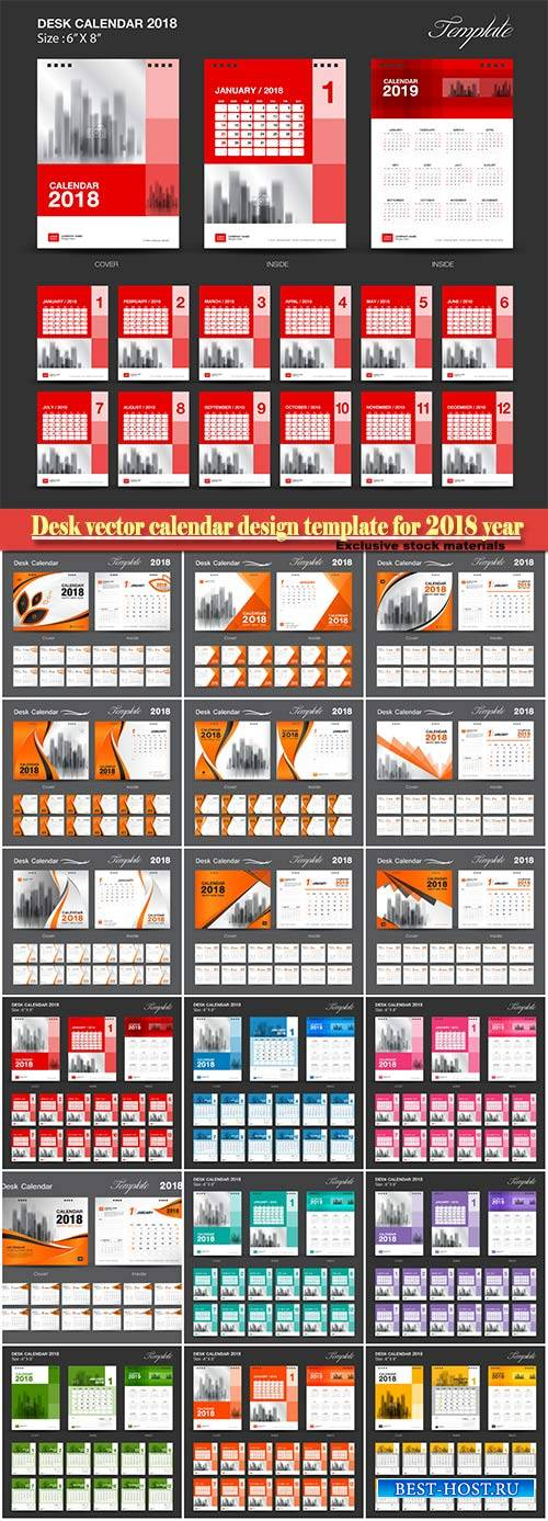 Desk vector calendar design template for 2018 year # 8