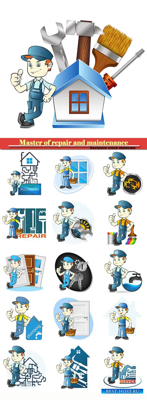 Master of repair and maintenance in vector
