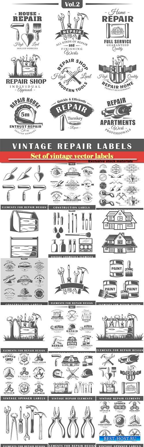 Set of vintage vector labels, construction, posters, stamps, banners and de ...