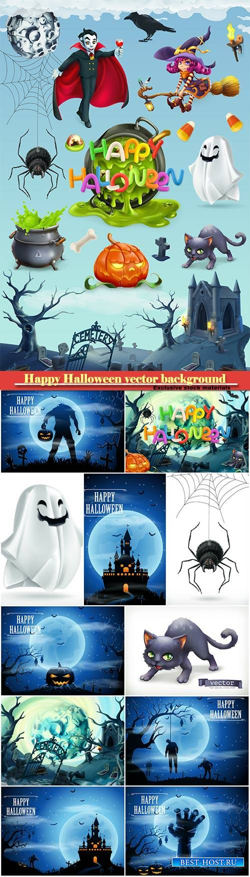 Happy Halloween vector background, pumpkin, spider, cat, witch, vampire and ...
