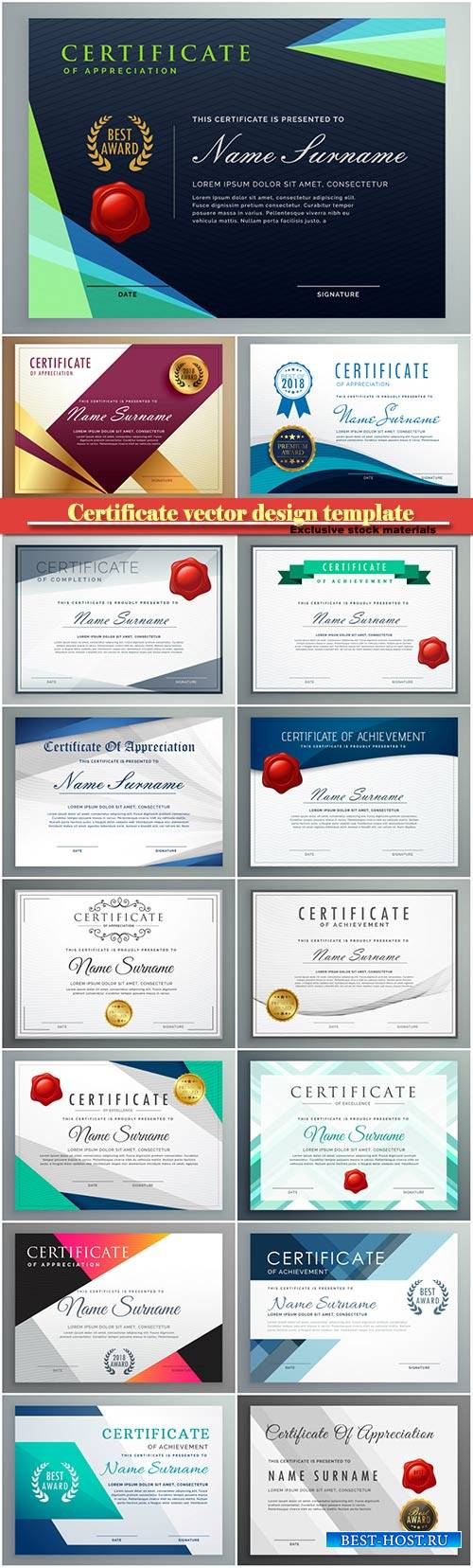 Certificate and vector diploma design template # 38