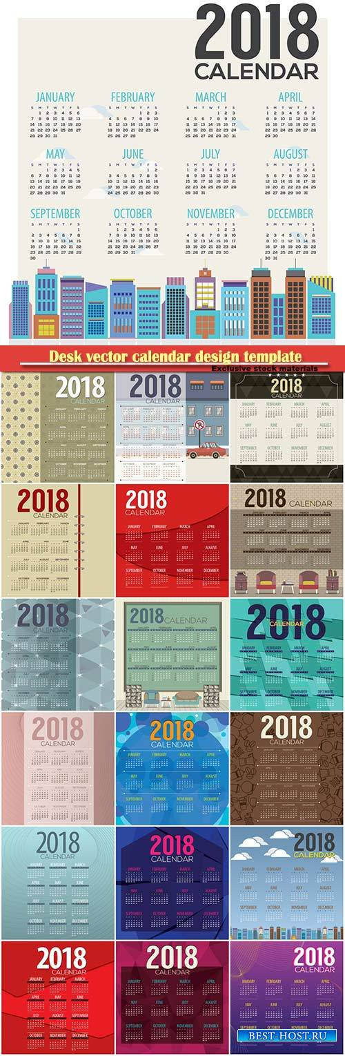 Desk vector calendar design template for 2018 year # 10