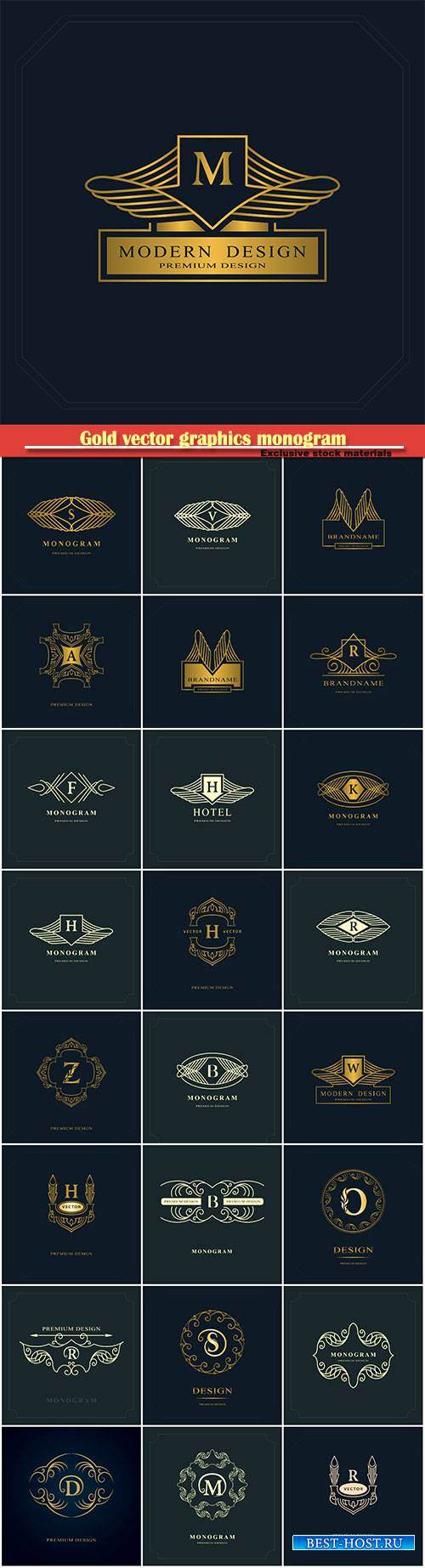 Gold vector graphics monogram, elegant logo design