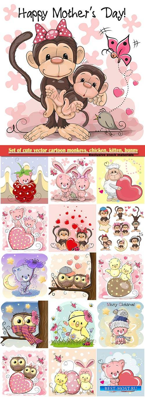 Set of cute vector cartoon monkeys, chicken, kitten, bunny
