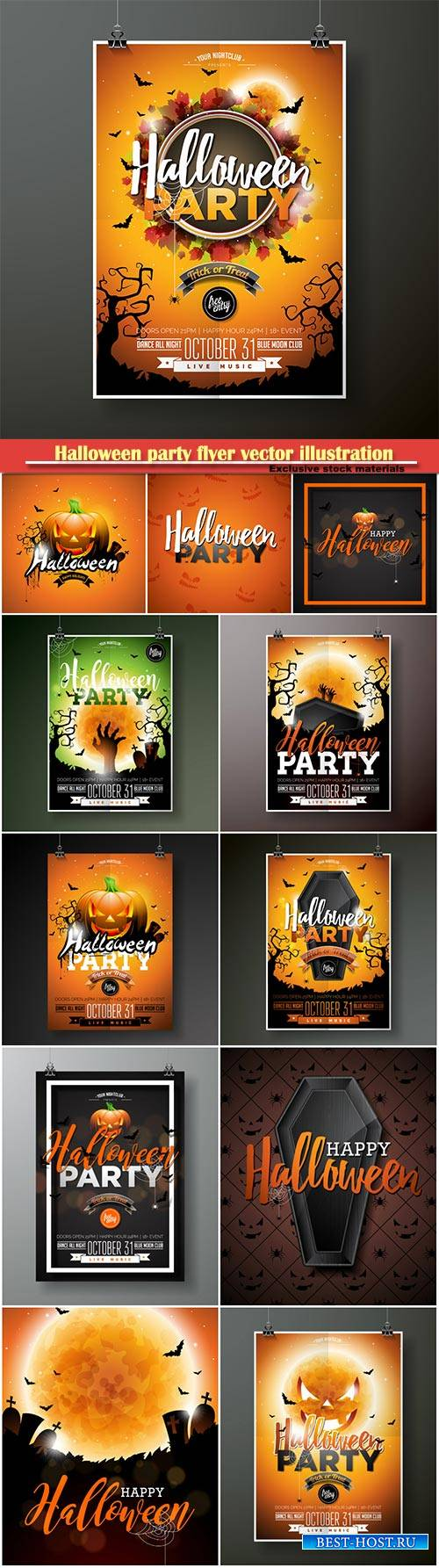 Halloween party flyer vector illustration with moon on orange sky backgroun ...