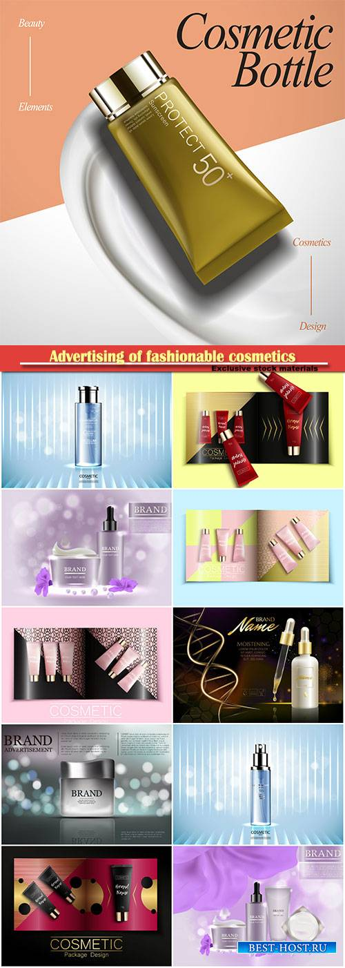 Advertising of fashionable cosmetics, template of fashion magazine, catalog ...