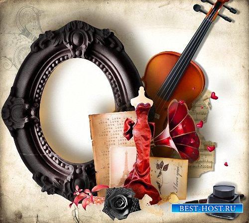 Рамка фотошоп - Креативная черная роза