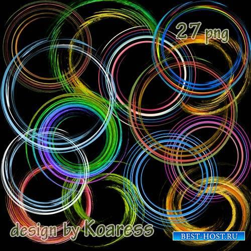 Клипарт png для фотошопа - круглые рамки вырезы, спирали, завитки