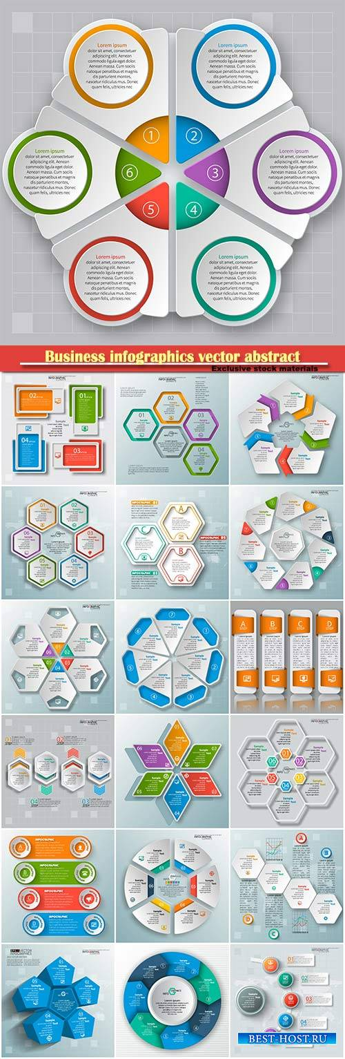Business infographics vector abstract 3d paper, infographic elements