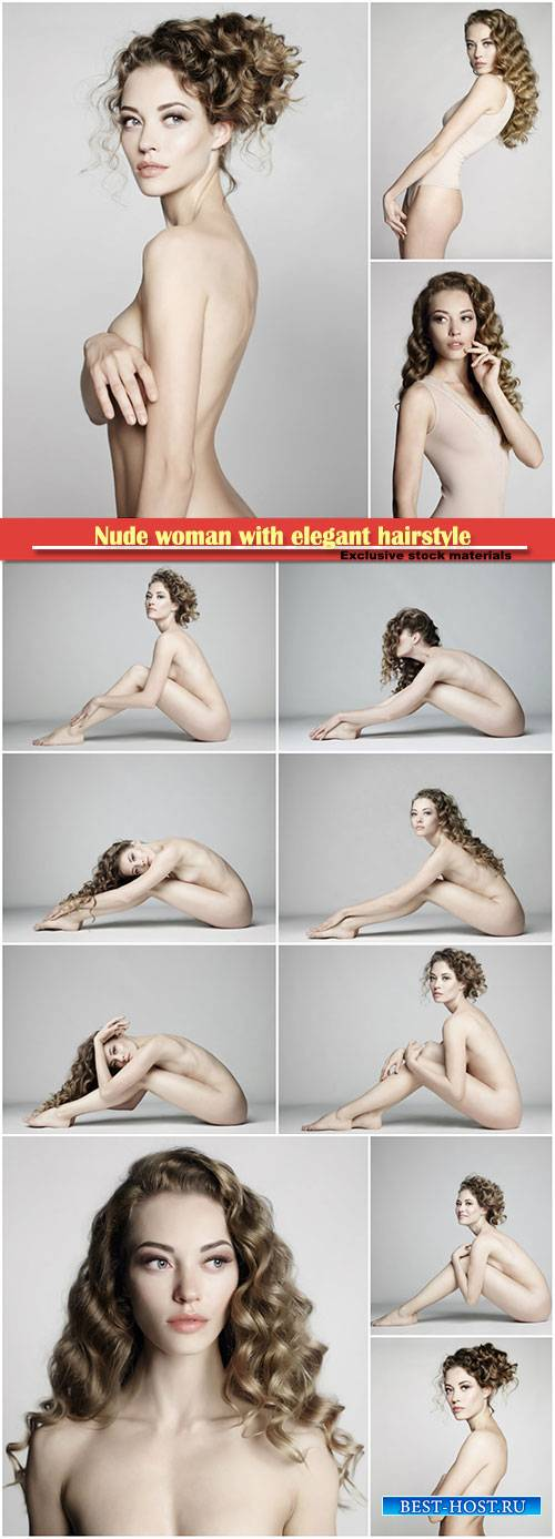 Nude woman with elegant hairstyle on gray background