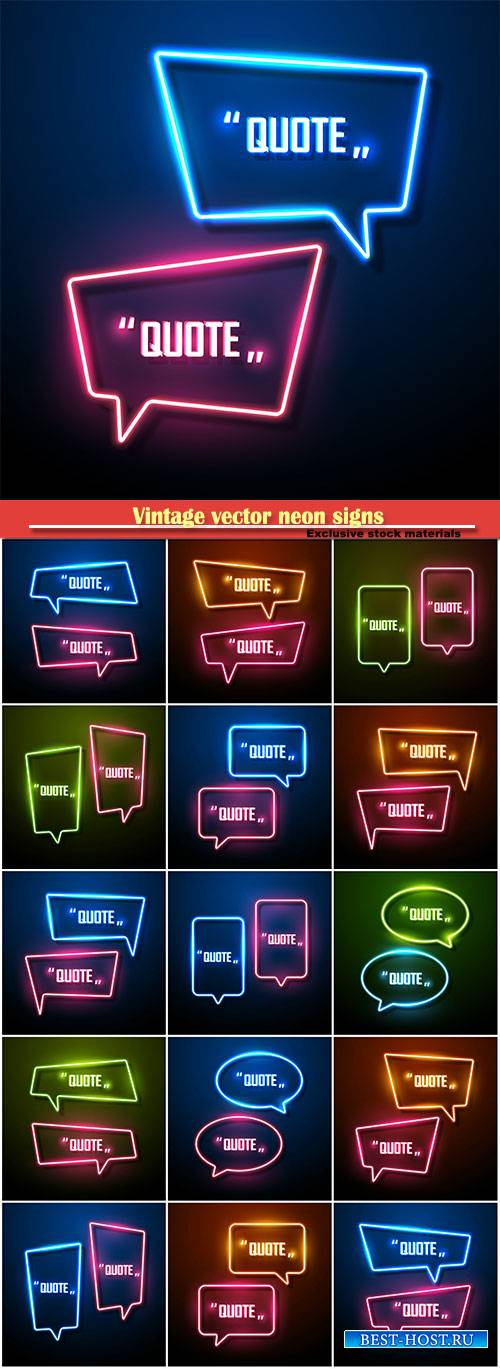 Vintage vector neon signs