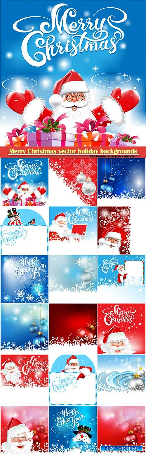 Merry Christmas vector holiday backgrounds, Santa Claus, snowman, Christmas ...